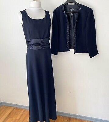 Formal Party Long Gown Dress Beaded Jacket Set Mother Of The Bride Navy Blue M L