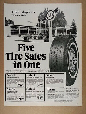 1966 Pure Oil Gas Service Station Tire Sale vintage print Ad