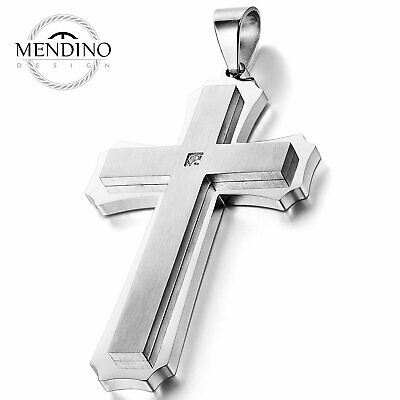 Details about  /MENDINO Men Women/'s Stainless Steel Pendant Necklace Seagull Wave Symbol Silver