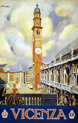"""Cool Retro Travel Poster CANVAS ART PRINT ~ Vicenza Italy 32""""x24"""""""