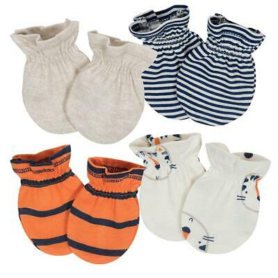 Gerber Baby Boys 4-Pack Mittens, Tiger, 0-3 Months