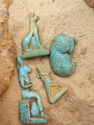 Rare Antique Ancient Egyptian 4 Statues Gods Amulets Protection 1630 BC