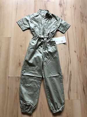 Fabulous Age 4 Vintage Jumpsuit In Khaki Green With Elasticated Waist And Ankles