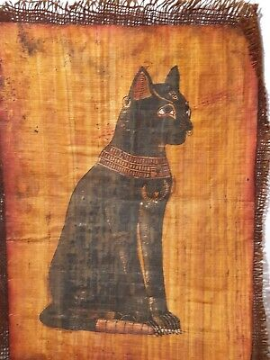 Rare Antique Ancient Egyptian Papyrus God Cat Protection Scarab Luck 1630 BC