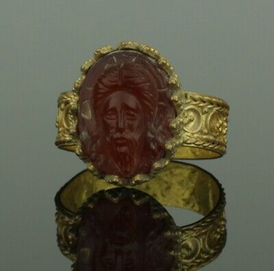 STUNNING ANCIENT BYZANTINE GOLD CAMEO RING WITH CHRIST - 12th Century AD