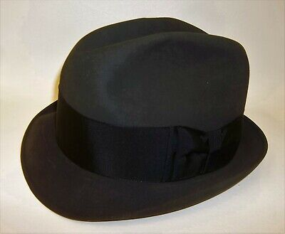 Vintage Mens Saks Fifth Avenue Felted Wool Black Fedora Hat - 7 3/8