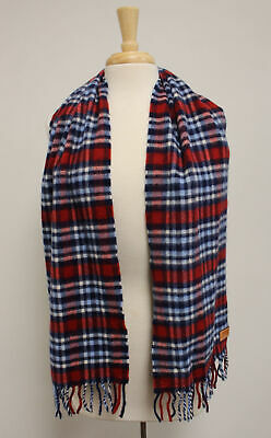 Coach Red Navy White Plaid Fringed Trim Rectangle Scarf