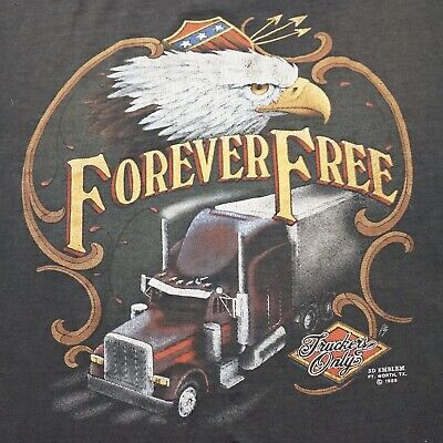 Vintage 80's TRUCKERS ONLY Forever Free 3D Emblem T-Shirt M/L