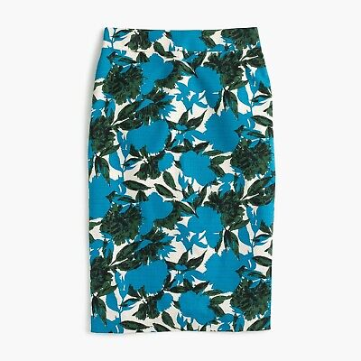 J. Crew Blue Green Vibrant Floral No. 2 Pencil Skirt 2  Cotton Stretch