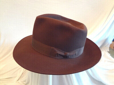 Fabulous Vintage Borsalino Dark Brown Wool Felt Mens Hat