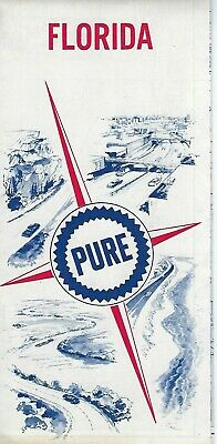 Vintage Pure Oil Company Florida Map 1967