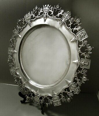 Columbian Silver Heraldic Tray                  SIGNED - HAND CRAFTED