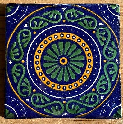 """30~Talavera Mexican Pottery Tile 4/"""" Classic trio yellow sunflowers cobalt blue"""