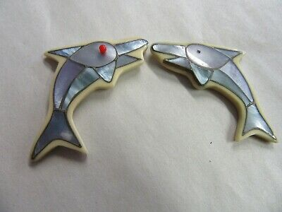 Beautiful Vintage Dolphin with Blue Shell Jewelry Parts