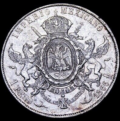 Mexico 1866  MacMillan Peso Amazing Details. Hard2find this Grade  Re6f-51-116