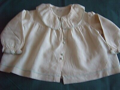 } Vintage Clothing For Baby -  Cream Silk & Blue Jacket With Wool Lining   [B]