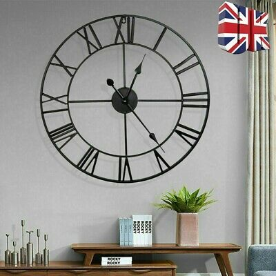 Extra Large Roman Numerals Skeleton Wall Clock Big Giant Open Face Round Uk New