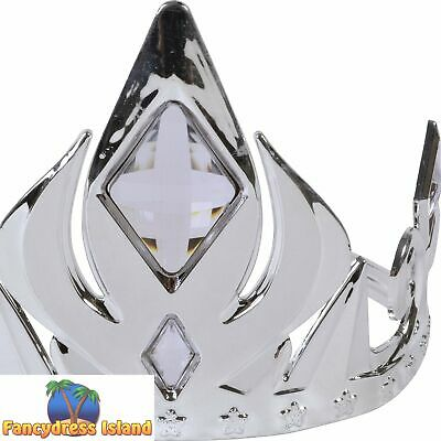 Wand with Red or Clear Stones Fancy Dress Accessory Adult Silver Crown