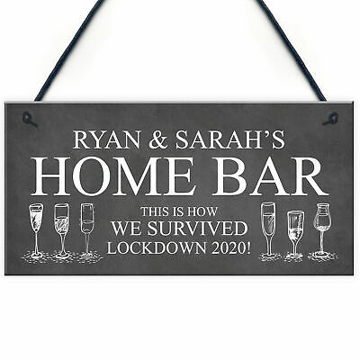 Personalised Quarantine Funny Home Bar Sign Cocktail Martini Gift Bar Decor Gift