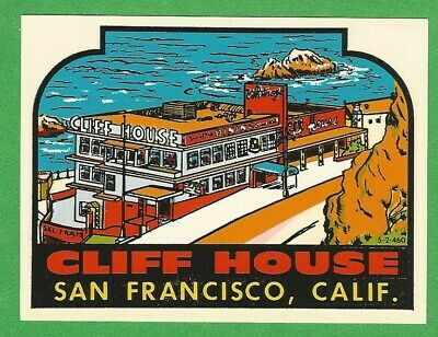 San Francisco  CA   Cliff House   Vintage Looking 1950/'s    Travel Decal Sticker