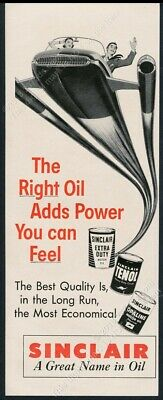 Power You Can Feel Vintage Print Ad 1955 Sinclair Extra Duty Motor Oil