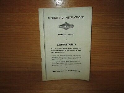 Vintage Briggs & Stratton Operating Instructions Model 6B-H