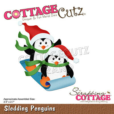 New Scrapping Cottage Cutz Metal Cutting Die Christmas Caroling Penguin Trumpet
