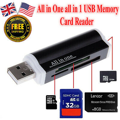 GOLDEN2STAR Aluminium All-In-One USB 2.0 Multi Memory Card Reader For SD//SDHC MMC TF MS M2