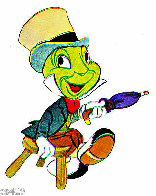 """Disney jiminy cricket vintage wall decal prepasted border cut out 4/"""" inch"""
