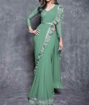 Beautiful Saree Party Wear Georgette Fabric With Printed 600 Grm DVD-1129 1 to 5