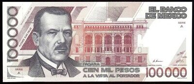 Mexico 100000 Pesos 4-1-1988 Pick 94.a UNCIRCULATED Serie A Serial AA0