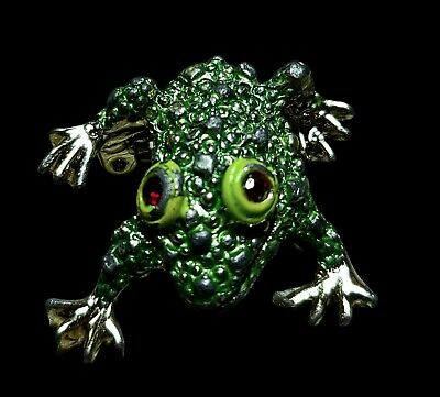 Vintage Little Frog Pin Brooch Green Gold Tone Ruby Red Stone Eyes