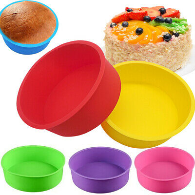 """4/"""" Silicone Round Bread Mold Cake Pan Muffin Mould Bakeware Baking Tray Tool New"""