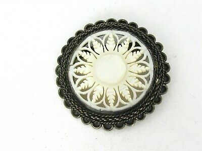 800 Silver And Amber Antique 1940s Signed Continental Brooch Pin C Clasp