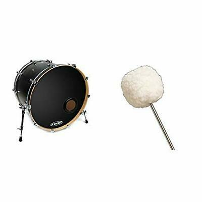 Evans BD22EMAD2   Clear Bass Drum Head 22 Inch with Vater VBVB Vintage Bomber Bass Drum Beater