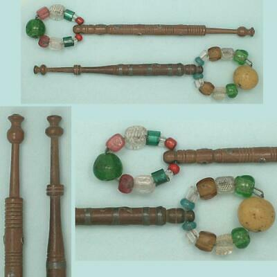 2 Antique Spangled Lace Bobbins w/ Pewter Inlay *  Leopard & Butterfly * C1850