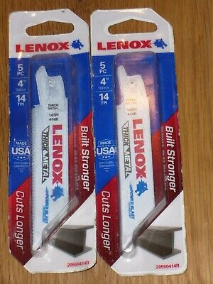 "2 X PACKS OF 5 Lenox 20550414R 4"" 14TPI  THICK Metal Cutting Recip Saw Blades"