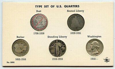 United States Quarter Type Set 1850's - 1964 Silver US Coin Collection - BL766