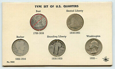 United States Quarter Type Set 1877 - 1950 Silver US Coin Collection - BL767