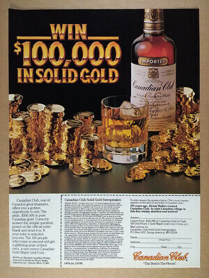 1983 CC Canadian Club Solid Gold Coins Sweepstakes vintage print Ad