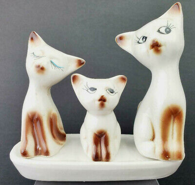 Vintage Cat Salt & Pepper Shakers & Toothpick Holder Set on Tray- AS IS