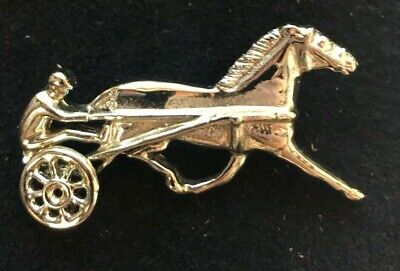 Vintage Standardbred Race Horse and Driver Pin Brooch.