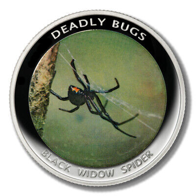 Zambia Deadly Insects Black Widow Spider 1000 Kwacha 2010 Proof Colored Coin