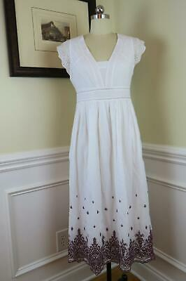 JCrew Point Sur Embroidered Flutter-Sleeve Midi Dress Eyelet J1495 $138 White 10