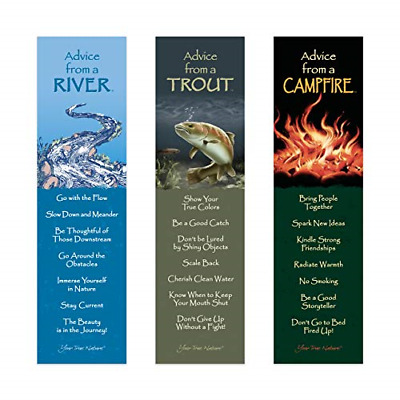 Advice from Nature 3 Bookmark Manly Set - Campfire, Trout, River by Your True