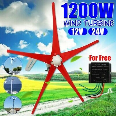 1200W Wind Turbine Generator 12V/24V 5 Blades With Charge Controller Wind
