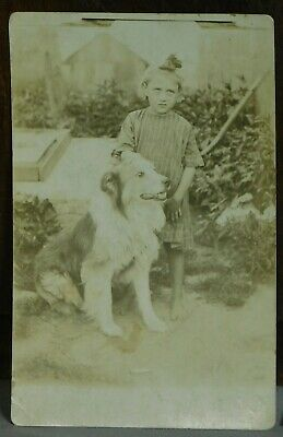 Vintage Antique RPPC Real Photo Postcard Dirty Barefoot Child Collie Dog Girl