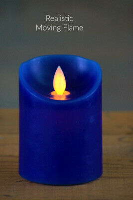 New Battery Operated ROYAL BLUE MOVING FLICKER FLAME PILLAR CANDLE LED Timer