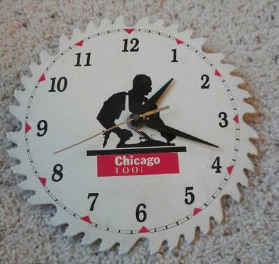 Vintage Chicago Tool Company Advertising Saw Blade Clock Sign
