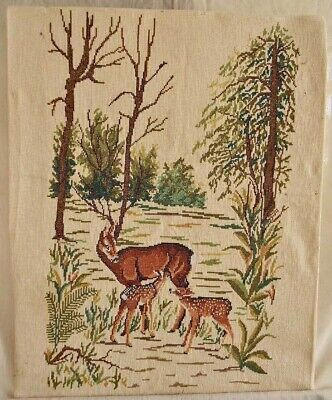 Needlepoint Deer Fawns in Forest Landscape Cabin Rustic Decor Handmade Botanical